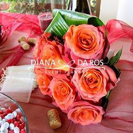 dettaglio bouquet rosso matrimonio vino rose coffee break (Diana Da Ros - Event Planner)