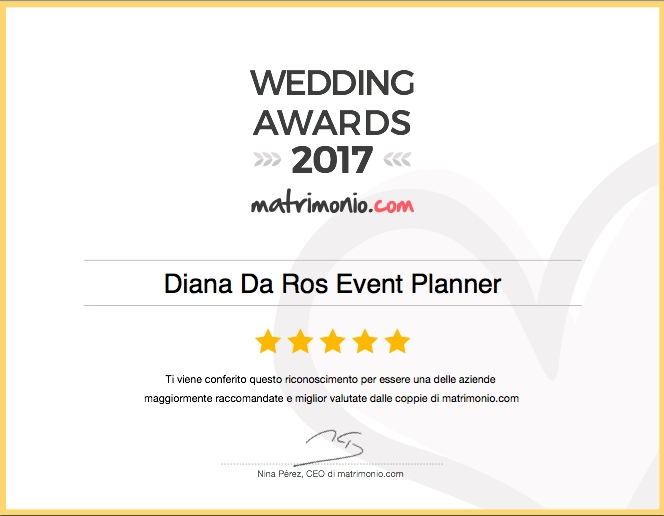 DIANA DA ROS VINCE I WEDDING AWARDS 2017