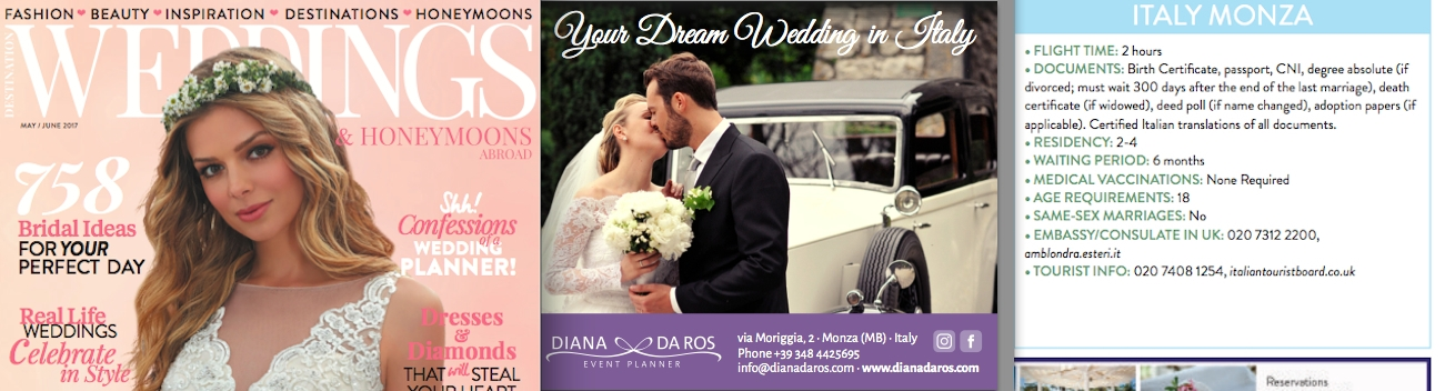 DIANA DA ROS SU DESTINATION WEDDINGS MAGAZINE UK